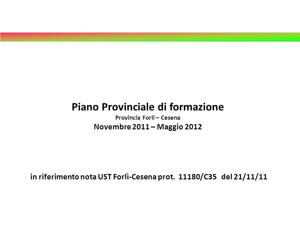 Piano Provinciale di formazione Provincia Forli – Cesena Novembre 2011 – Maggio 2012 in riferimento nota UST Forlì-Cesena prot. 11180/C35 del 21/11/11