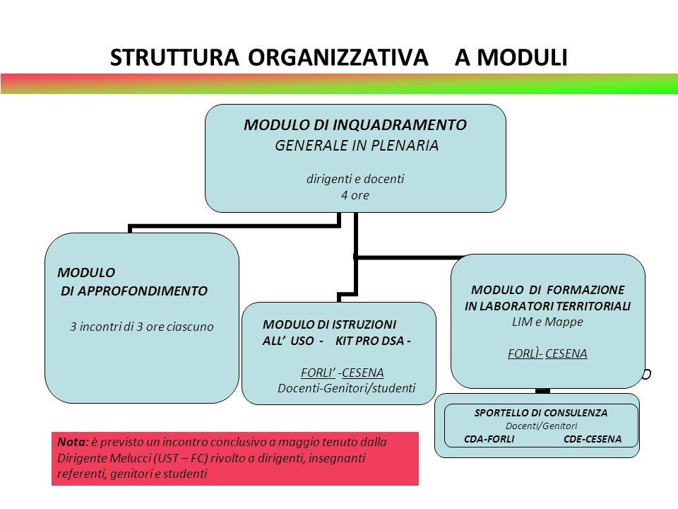 STRUTTURA ORGANIZZATIVA A MODULI MODULO DI ADDESTRAMENTO MODULO DI APPROFONDIMENTO MODULO DI ISTRUZIONI ALL USO - KIT PRO DSA - FORLI -CESENA Docenti-