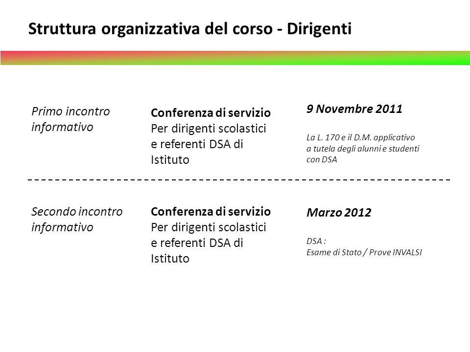 Primo incontro informativo Conferenza di servizio Per dirigenti scolastici e referenti DSA di Istituto 9 Novembre 2011 La L. 170 e il D.M. applicativo