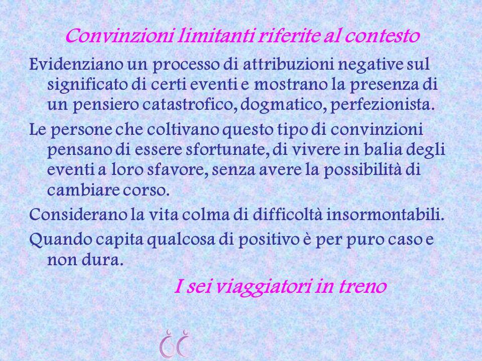 Convinzioni limitanti riferite al contesto Evidenziano un processo di attribuzioni negative sul significato di certi eventi e mostrano la presenza di