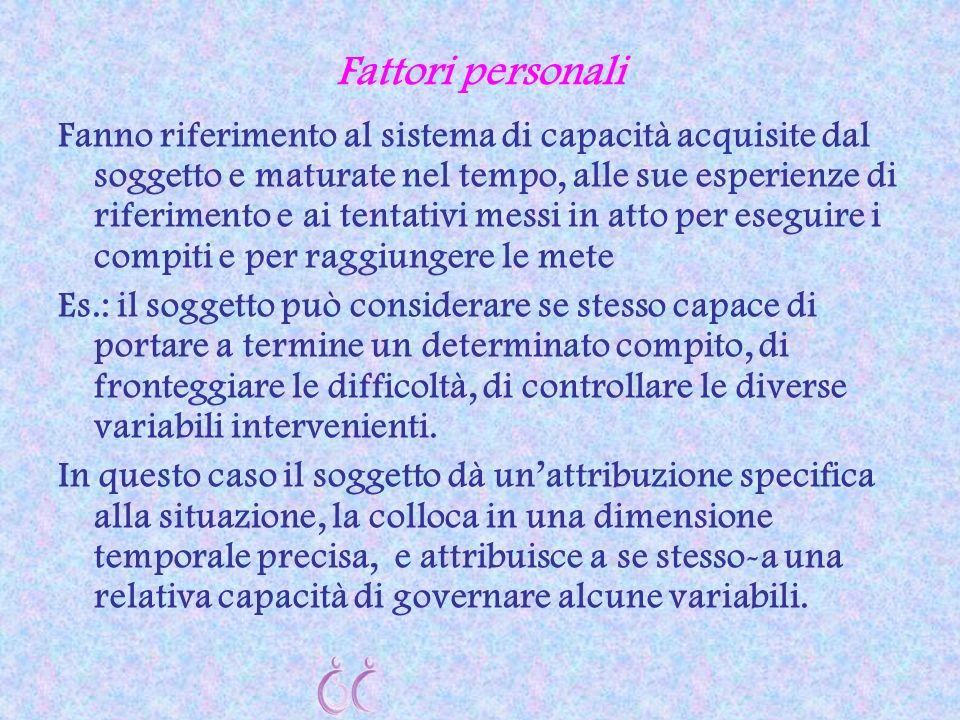 Fattori personali Fanno riferimento al sistema di capacità acquisite dal soggetto e maturate nel tempo, alle sue esperienze di riferimento e ai tentat