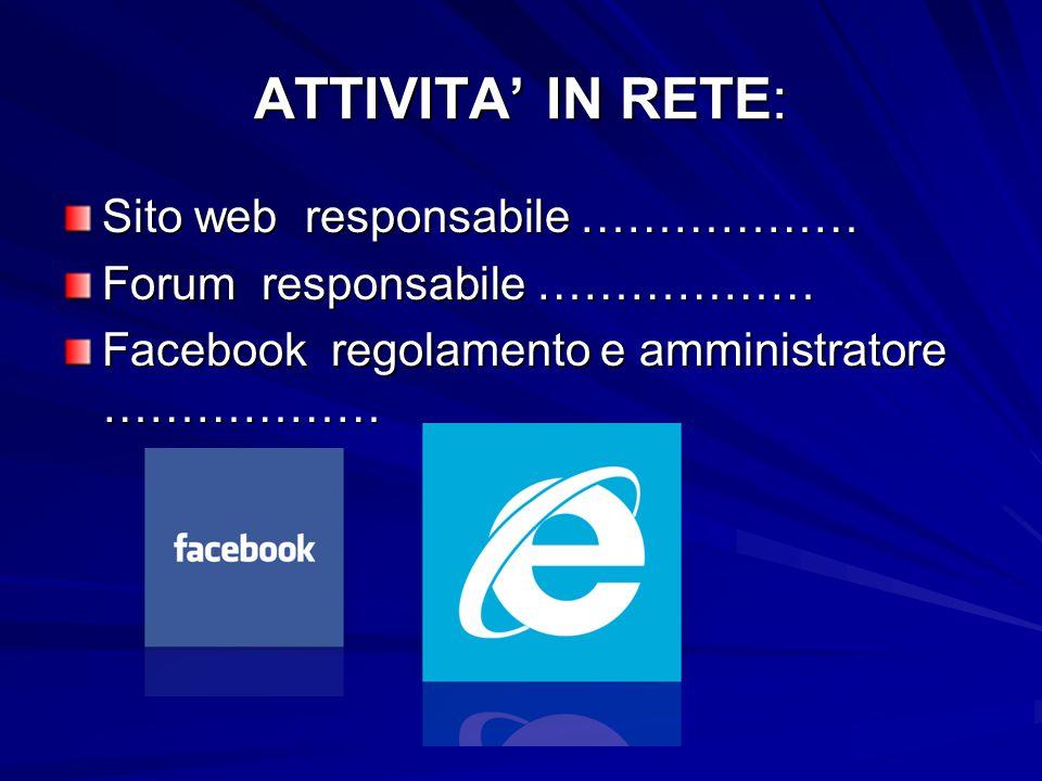ATTIVITA IN RETE: Sito web responsabile ……………… Forum responsabile ……………… Facebook regolamento e amministratore ………………