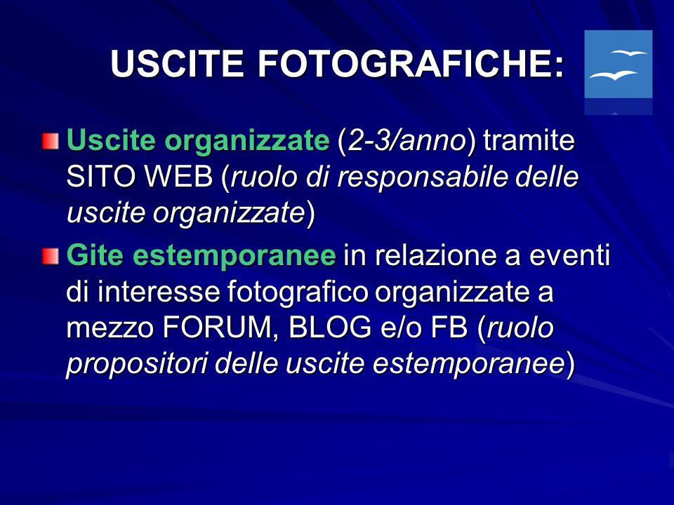 USCITE FOTOGRAFICHE: Uscite organizzate (2-3/anno) tramite SITO WEB (ruolo di responsabile delle uscite organizzate) Gite estemporanee in relazione a eventi di interesse fotografico organizzate a mezzo FORUM, BLOG e/o FB (ruolo propositori delle uscite estemporanee)