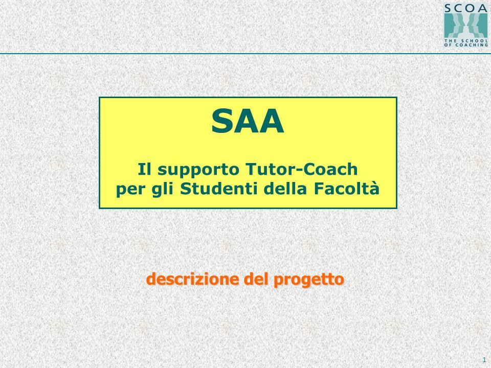 1 SAA Il supporto Tutor-Coach per gli Studenti della Facoltà descrizione del progetto