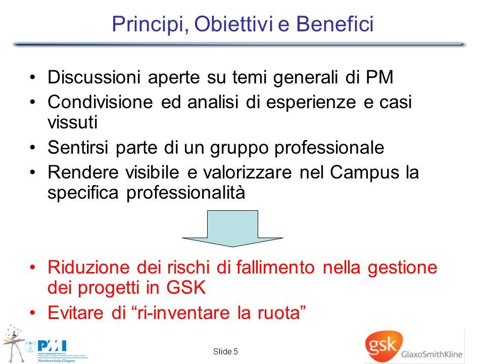 Slide 5 Principi, Obiettivi e Benefici Discussioni aperte su temi generali di PM Condivisione ed analisi di esperienze e casi vissuti Sentirsi parte d