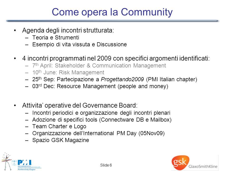 Slide 6 Come opera la Community Agenda degli incontri strutturata: –Teoria e Strumenti –Esempio di vita vissuta e Discussione 4 incontri programmati n