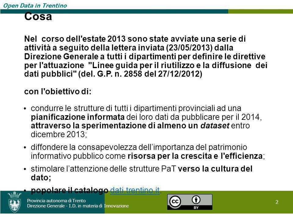 Open Data in Trentino 2 Provincia autonoma di Trento Direzione Generale - I.D. in materia di Innovazione Open Data in Trentino Cosa Nel corso dell'est