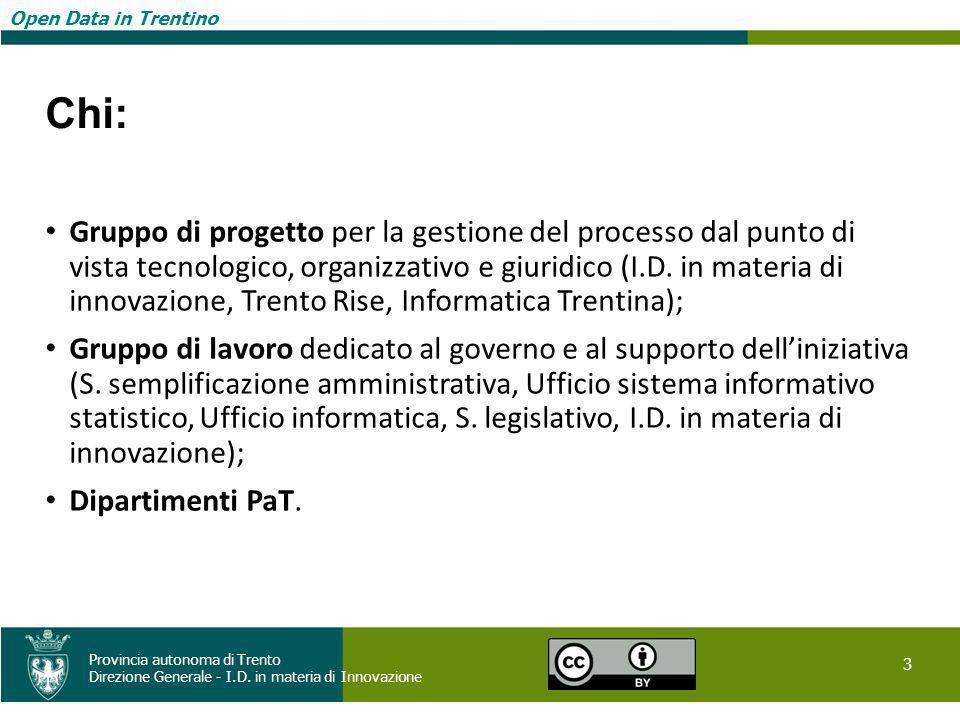 Open Data in Trentino 3 Provincia autonoma di Trento Direzione Generale - I.D. in materia di Innovazione Open Data in Trentino Chi: Gruppo di progetto