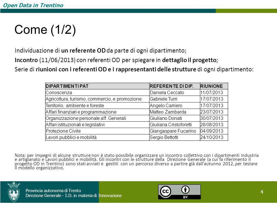 Open Data in Trentino 4 Provincia autonoma di Trento Direzione Generale - I.D. in materia di Innovazione Open Data in Trentino Come (1/2) Individuazio