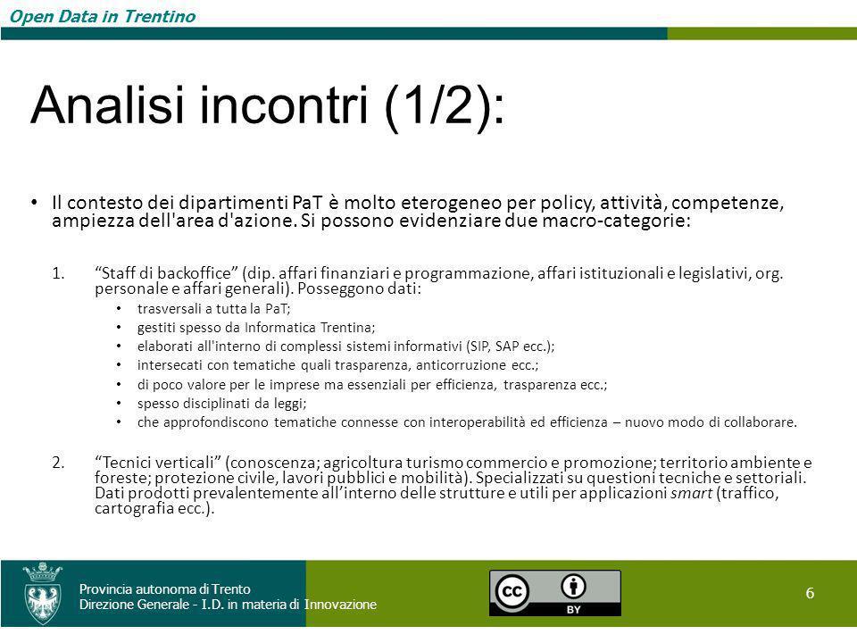 Open Data in Trentino 6 Provincia autonoma di Trento Direzione Generale - I.D. in materia di Innovazione Open Data in Trentino Analisi incontri (1/2):