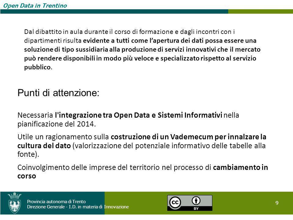 Open Data in Trentino 9 Provincia autonoma di Trento Direzione Generale - I.D. in materia di Innovazione Open Data in Trentino Punti di attenzione: Ne