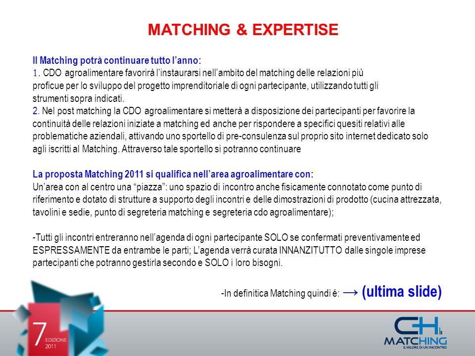 Il Matching potrà continuare tutto lanno: CDO agroalimentare favorirà linstaurarsi nellambito del matching delle relazioni più proficue per lo sviluppo del progetto imprenditoriale di ogni partecipante, utilizzando tutti gli strumenti sopra indicati.