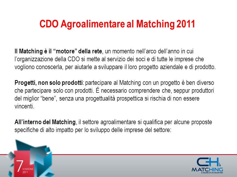 Il Matching è il motore della rete, un momento nellarco dellanno in cui lorganizzazione della CDO si mette al servizio dei soci e di tutte le imprese che vogliono conoscerla, per aiutarle a sviluppare il loro progetto aziendale e di prodotto.