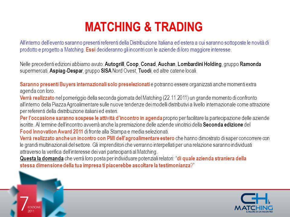 MATCHING & TRADING Allinterno dellevento saranno presenti referenti della Distribuzione Italiana ed estera a cui saranno sottoposte le novità di prodotto e progetto a Matching.