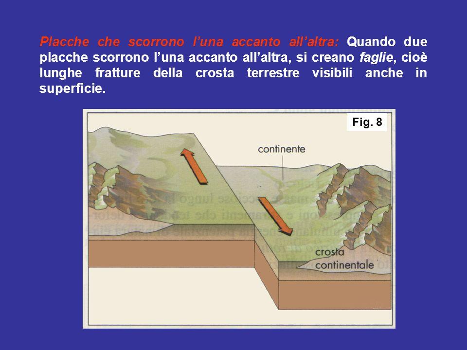3°: Se una delle placche è oceanica e laltra è continentale, la prima scivola sotto la seconda formando una fossa oceanica (fenomeno detto subduzione); il bordo del continente viene ripiegato, con conseguente formazione di una catena montuosa.
