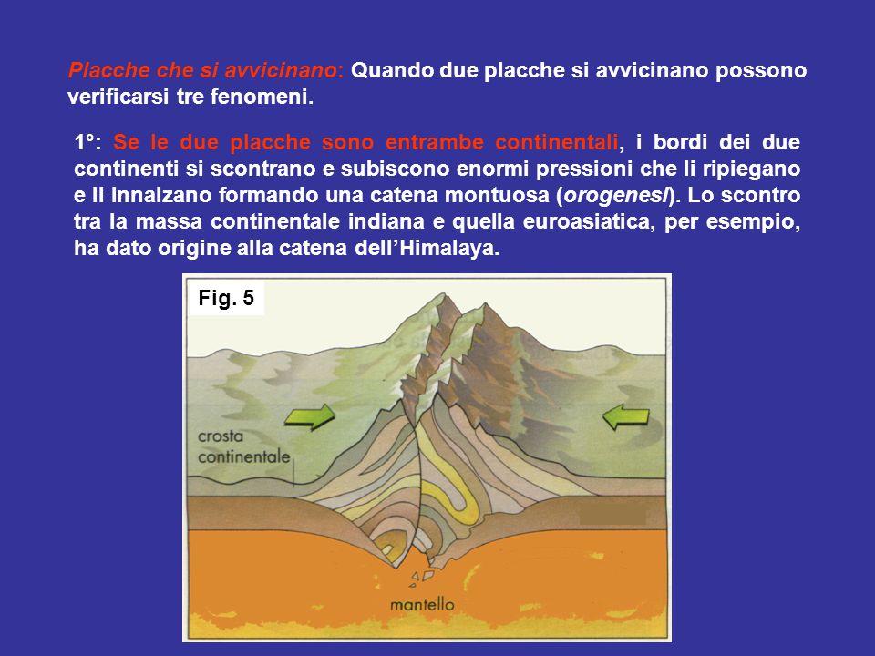 1°: Se le due placche sono entrambe continentali, i bordi dei due continenti si scontrano e subiscono enormi pressioni che li ripiegano e li innalzano formando una catena montuosa (orogenesi).