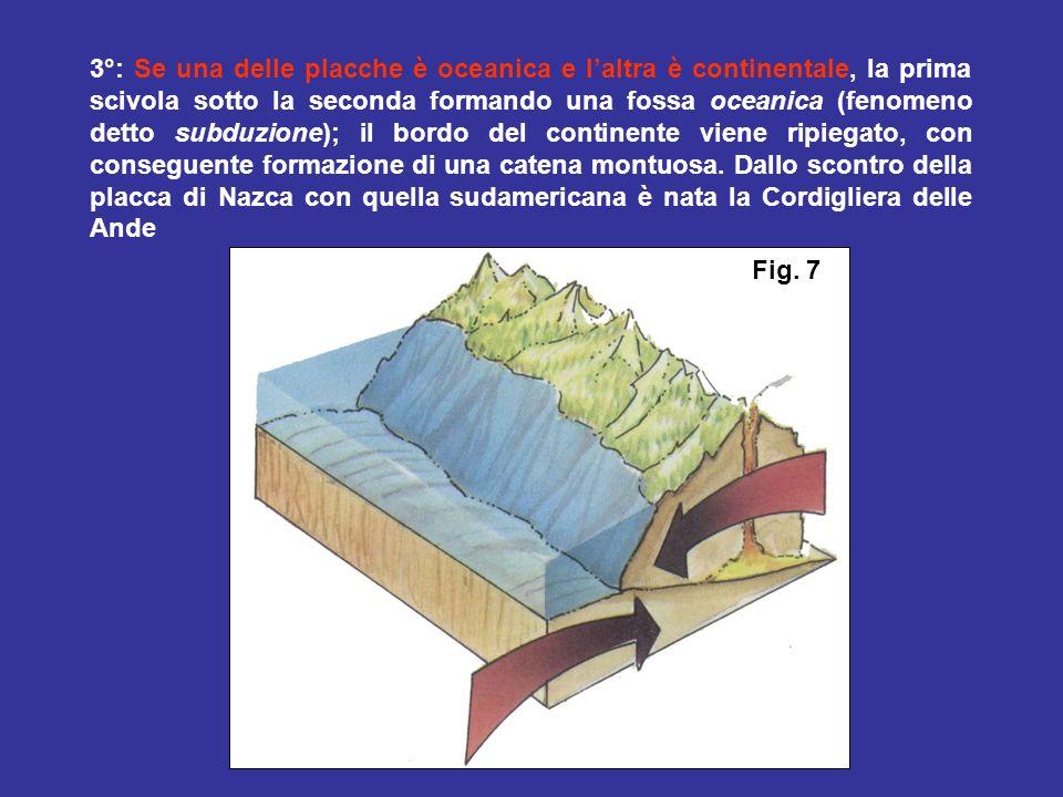 2°: Se le due placche sono entrambe oceaniche, una scivola sotto laltra creando una fossa oceanica, sul bordo della quale si formano isole vulcaniche (archi vulcanici insulari).