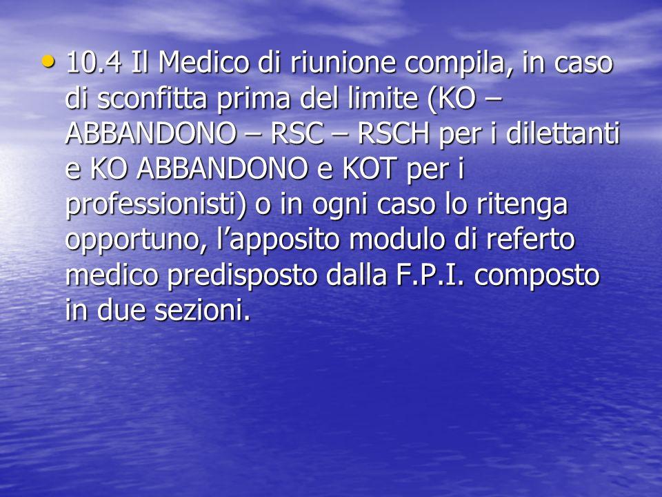 10.4 Il Medico di riunione compila, in caso di sconfitta prima del limite (KO – ABBANDONO – RSC – RSCH per i dilettanti e KO ABBANDONO e KOT per i pro