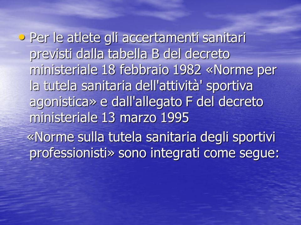 Per le atlete gli accertamenti sanitari previsti dalla tabella B del decreto ministeriale 18 febbraio 1982 «Norme per la tutela sanitaria dell'attivit