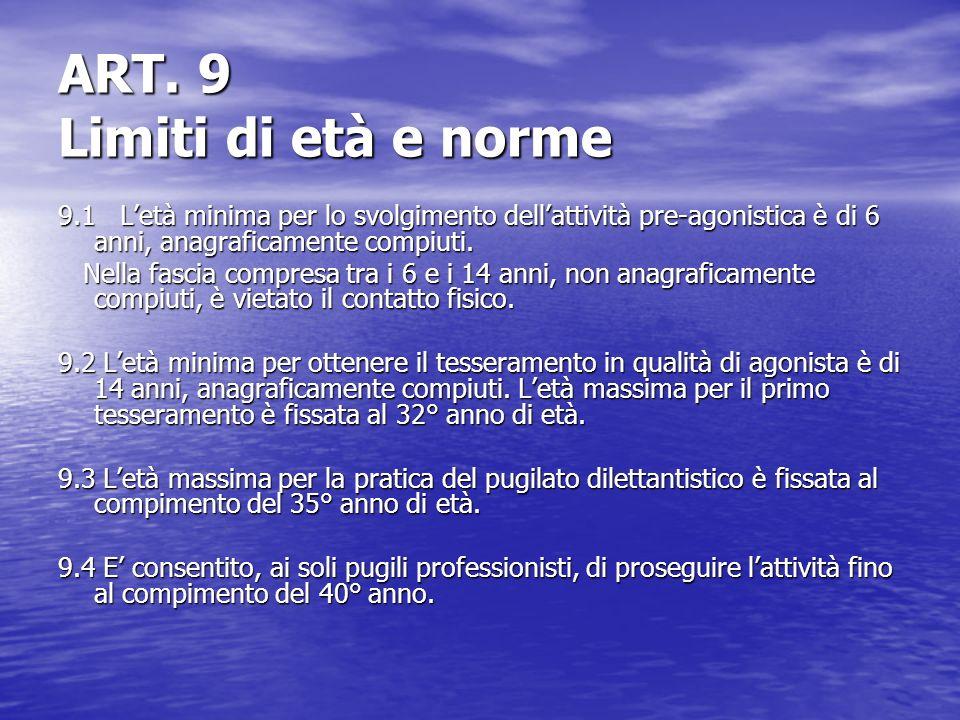 ART. 9 Limiti di età e norme 9.1 Letà minima per lo svolgimento dellattività pre-agonistica è di 6 anni, anagraficamente compiuti. Nella fascia compre