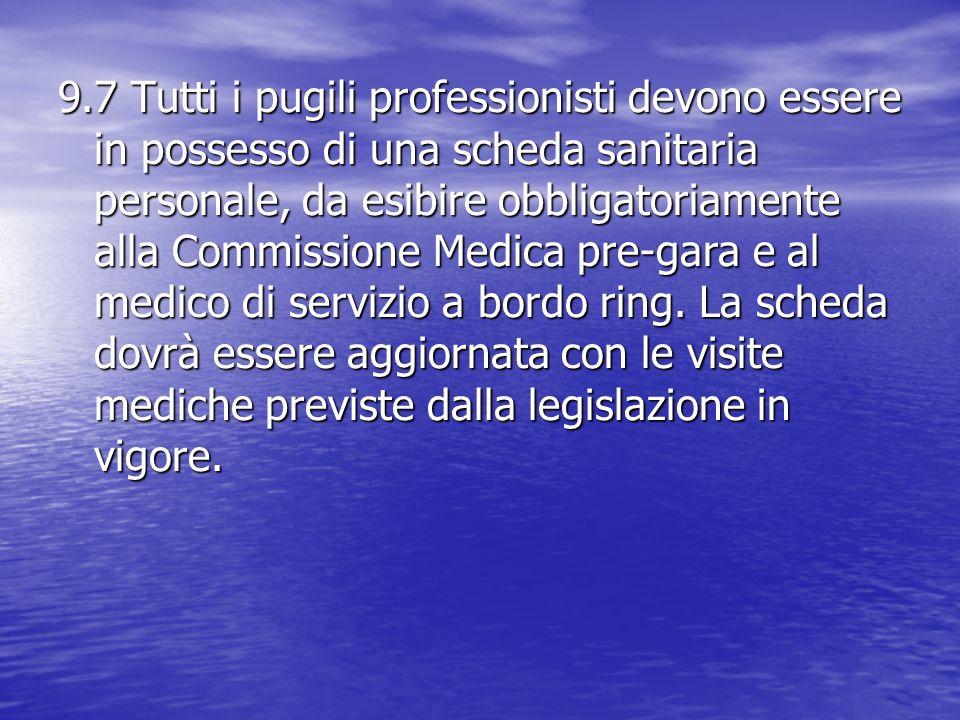 9.7 Tutti i pugili professionisti devono essere in possesso di una scheda sanitaria personale, da esibire obbligatoriamente alla Commissione Medica pr