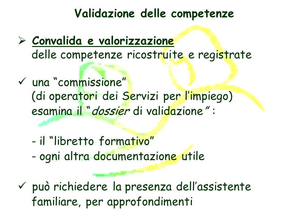 rilascia una scheda personale di validazione Se sono state validate tutte le competenze previste: esame di certificazione oppure