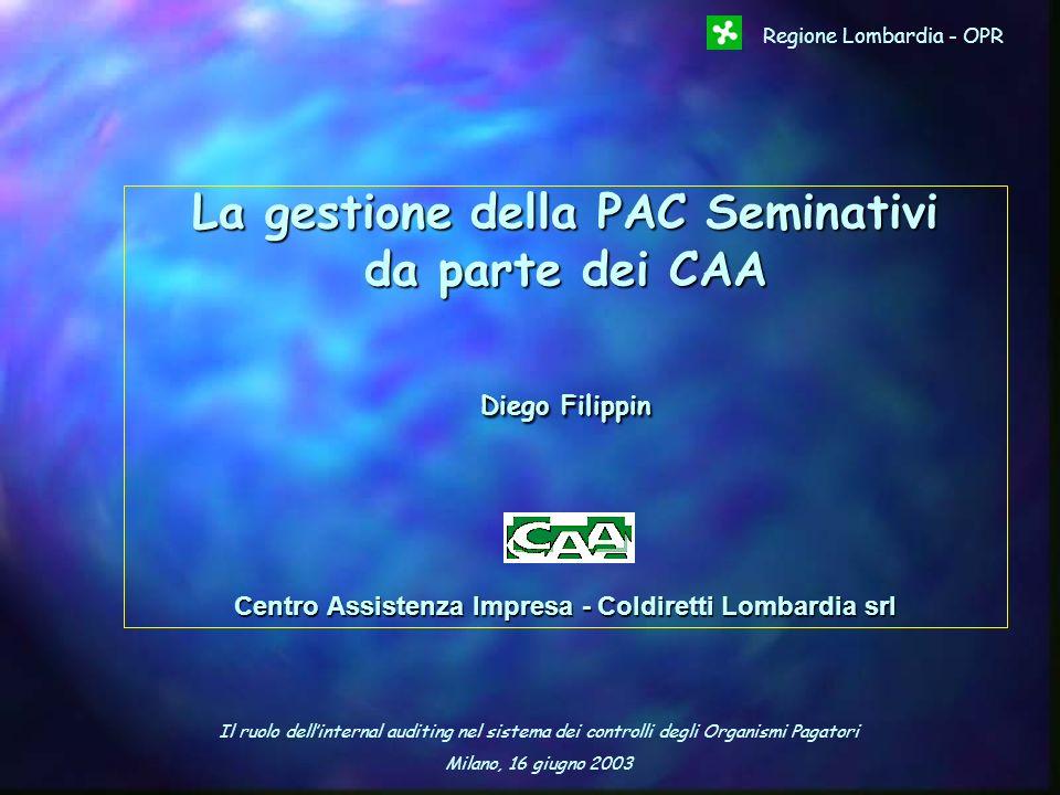 Il ruolo dellinternal auditing nel sistema dei controlli degli Organismi Pagatori Milano, 16 giugno 2003 Regione Lombardia - OPR La gestione della PAC