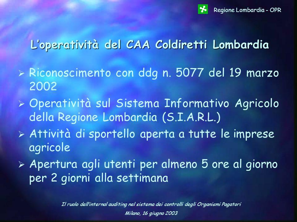 Il ruolo dellinternal auditing nel sistema dei controlli degli Organismi Pagatori Milano, 16 giugno 2003 Regione Lombardia - OPR Loperatività del CAA
