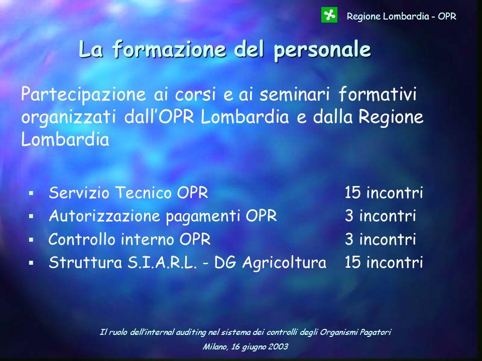 Il ruolo dellinternal auditing nel sistema dei controlli degli Organismi Pagatori Milano, 16 giugno 2003 Regione Lombardia - OPR La formazione del per