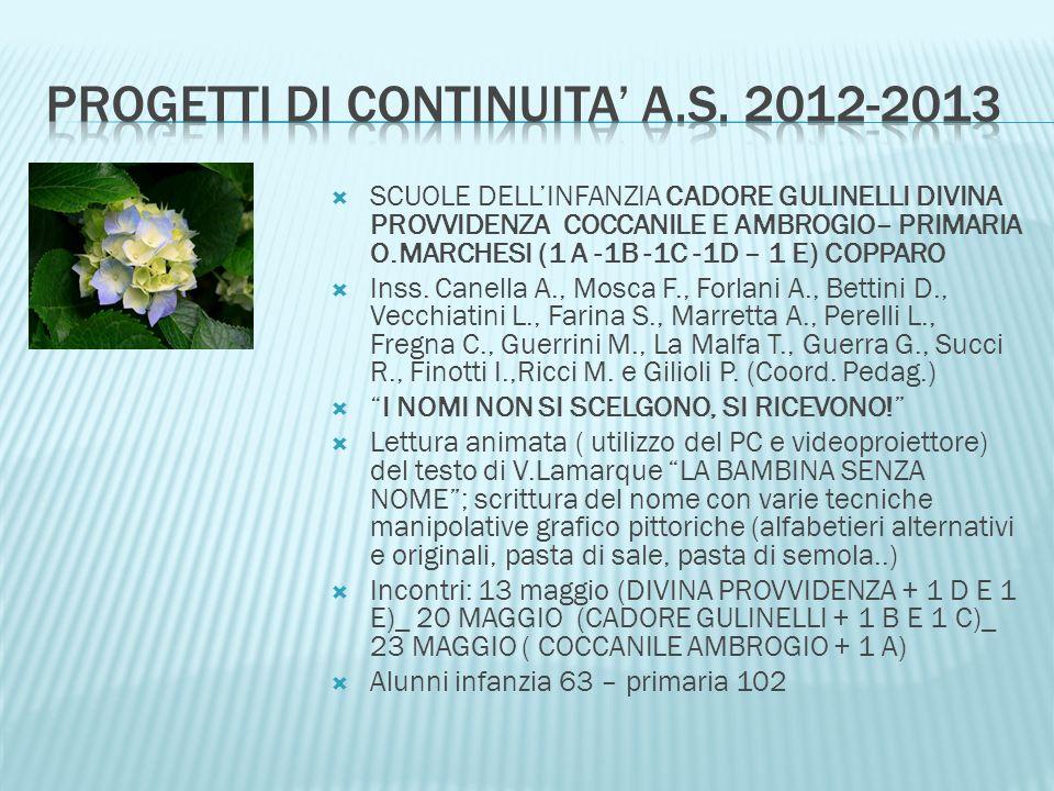 SCUOLE DELLINFANZIA CADORE GULINELLI DIVINA PROVVIDENZA COCCANILE E AMBROGIO– PRIMARIA O.MARCHESI (1 A -1B -1C -1D – 1 E) COPPARO Inss. Canella A., Mo