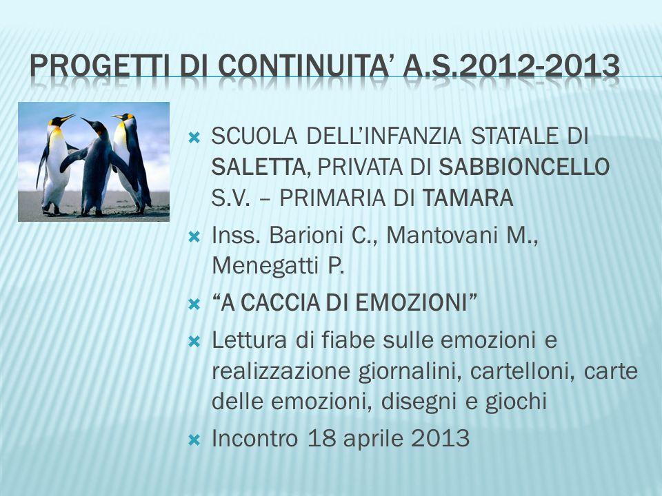 SCUOLA DELLINFANZIA STATALE DI SALETTA, PRIVATA DI SABBIONCELLO S.V. – PRIMARIA DI TAMARA Inss. Barioni C., Mantovani M., Menegatti P. A CACCIA DI EMO