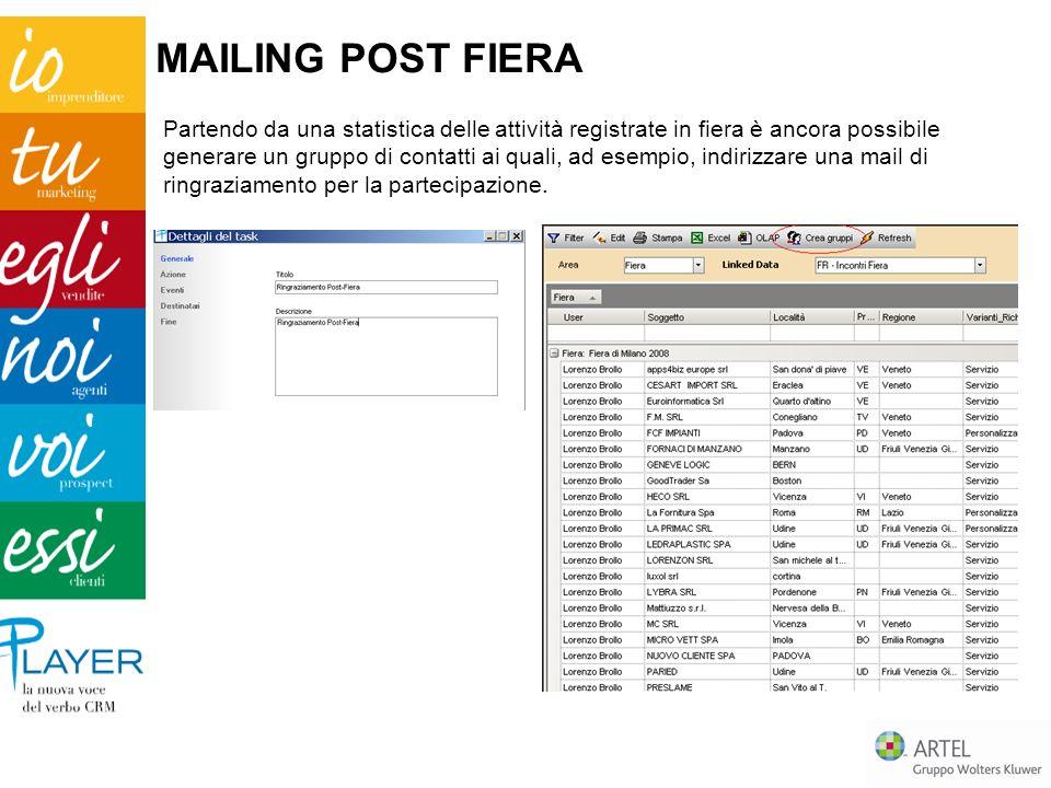 Partendo da una statistica delle attività registrate in fiera è ancora possibile generare un gruppo di contatti ai quali, ad esempio, indirizzare una mail di ringraziamento per la partecipazione.