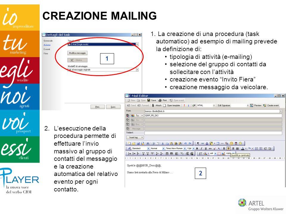 2.Lesecuzione della procedura permette di effettuare linvio massivo al gruppo di contatti del messaggio e la creazione automatica del relativo evento per ogni contatto.