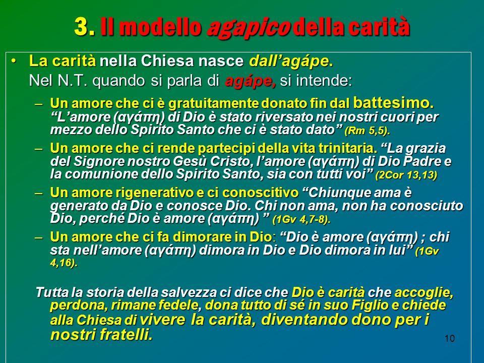 10 3. Il modello agapico della carità La caritànella Chiesanasce dallagápe. La carità nella Chiesa nasce dallagápe. Nel N.T. quando si parla diagápe,s
