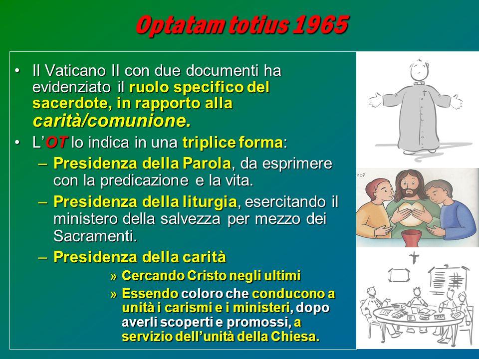 15 Optatam totius 1965 Il Vaticano II con due documenti ha evidenziato il ruolo specifico del sacerdote, in rapporto alla carità/comunione.Il Vaticano