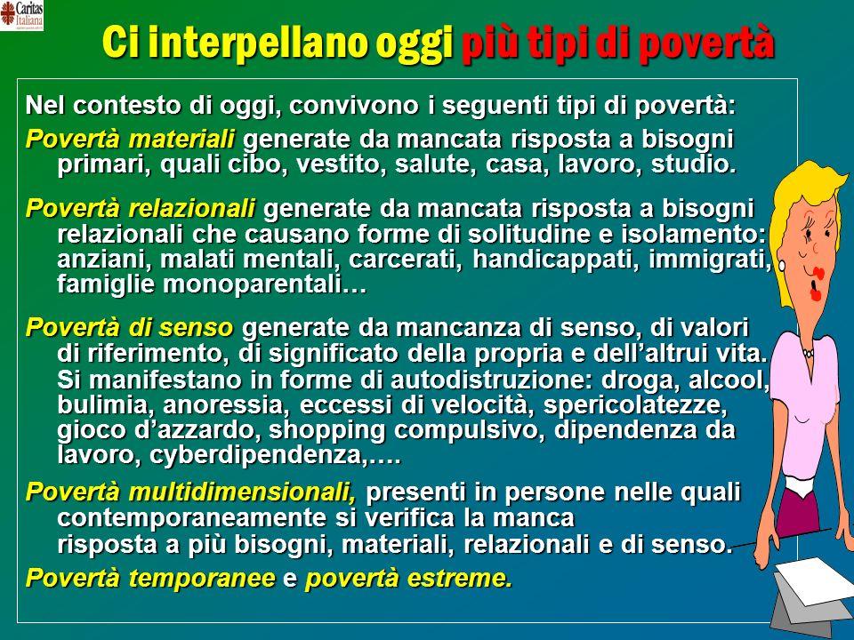21 Ci interpellano oggi più tipi di povertà Nel contesto di oggi, convivono i seguenti tipi di povertà: Povertà materialigenerate damancata risposta a