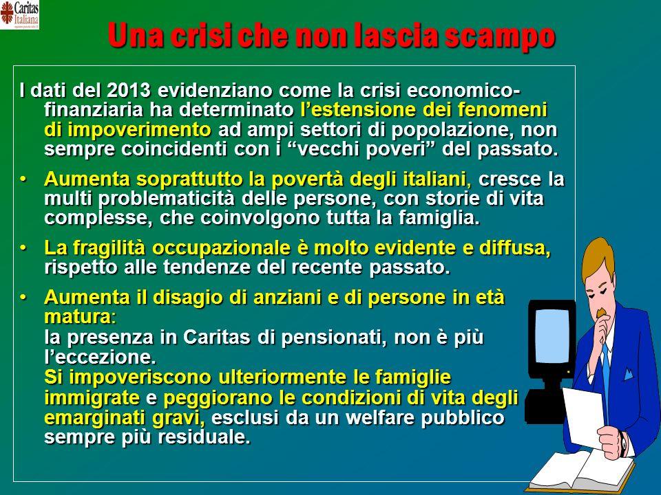 25 Una crisi che non lascia scampo I dati del 2013 evidenziano come la crisi economico- finanziaria ha determinatolestensione dei fenomeni di impoveri