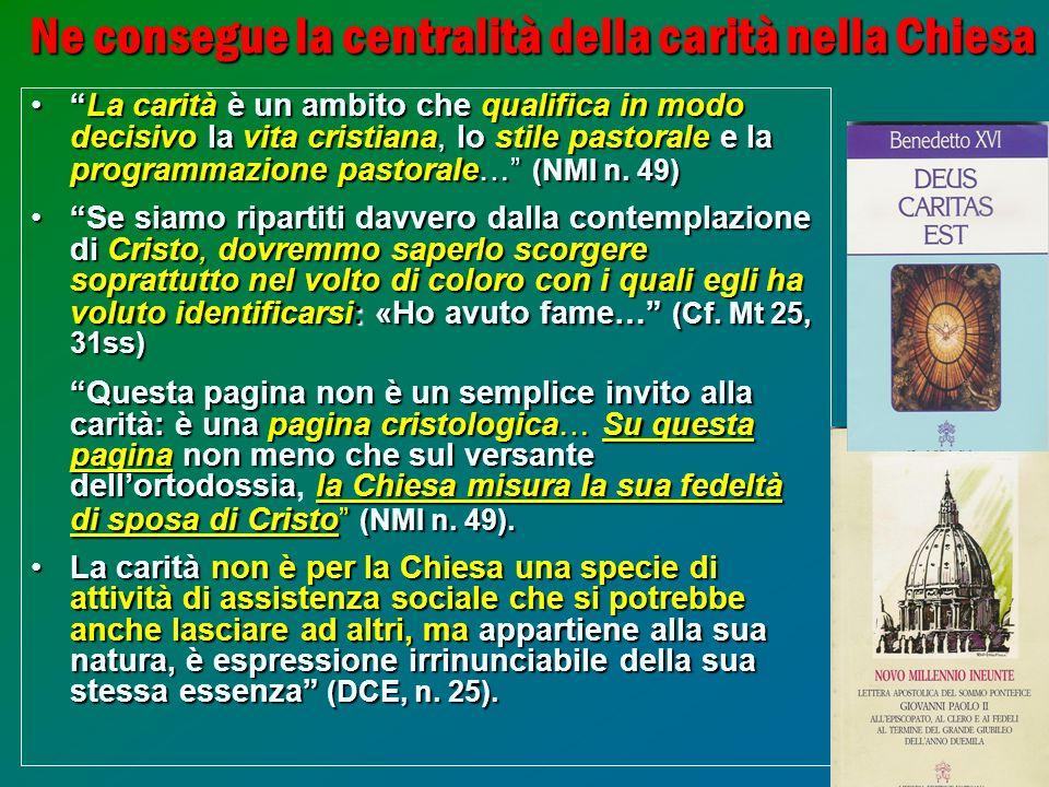 32 Ne consegue la centralità della carità nella Chiesa La caritàè un ambito chequalifica in modo decisivo la vita cristiana, lo stile pastoralee la pr