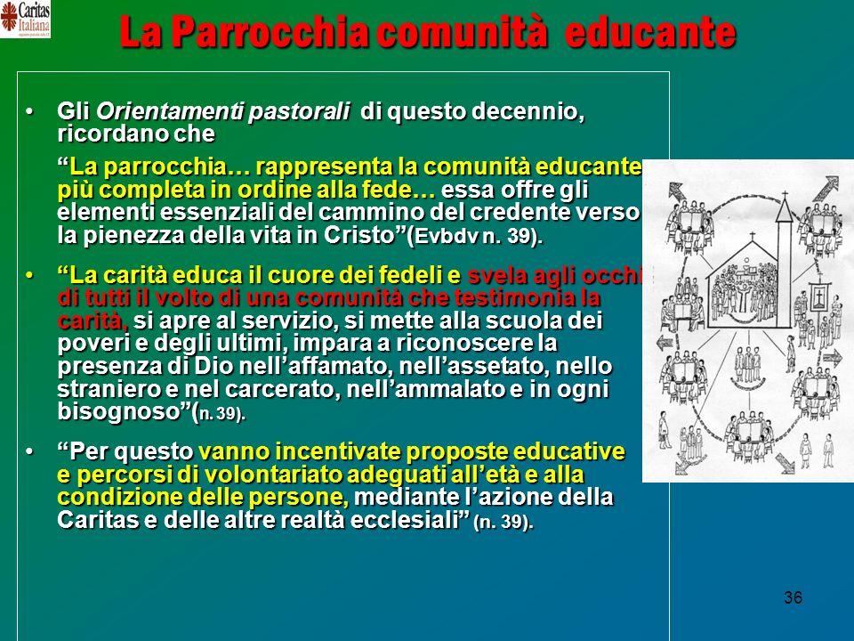 36 La Parrocchia comunità educante Gli Orientamenti pastorali di questo decennio, ricordano cheGli Orientamenti pastorali di questo decennio, ricordan