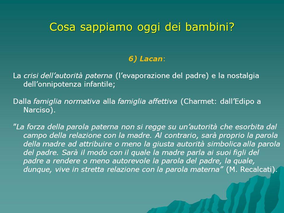 Cosa sappiamo oggi dei bambini? 6) Lacan: La crisi dellautorità paterna (levaporazione del padre) e la nostalgia dellonnipotenza infantile; Dalla fami