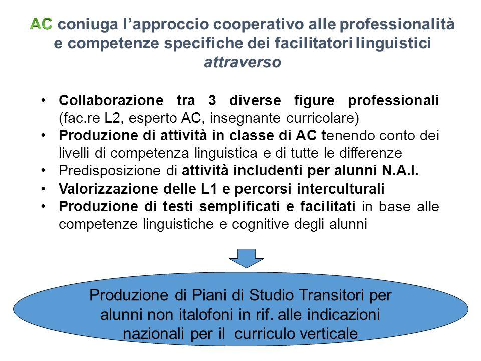 Collaborazione tra 3 diverse figure professionali (fac.re L2, esperto AC, insegnante curricolare) Produzione di attività in classe di AC tenendo conto