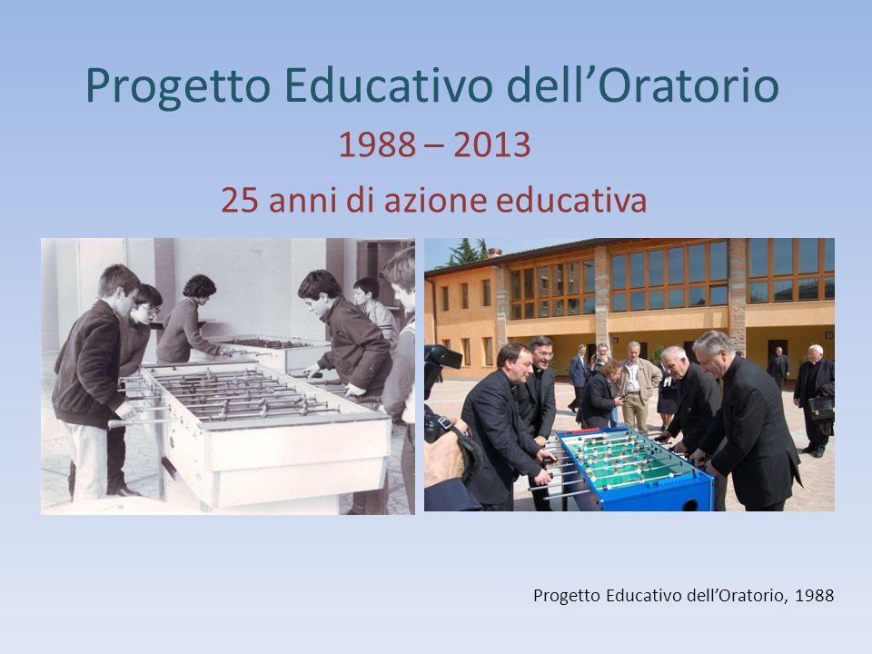 Progetto Educativo dellOratorio 1988 – 2013 25 anni di azione educativa Progetto Educativo dellOratorio, 1988
