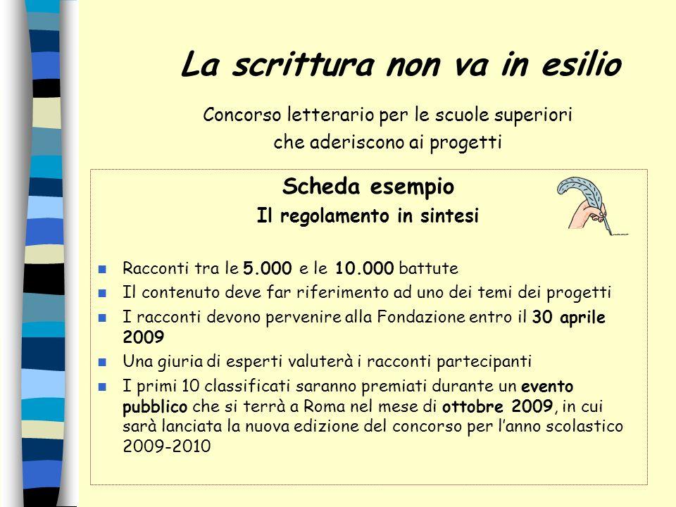 Concorso letterario per le scuole superiori che aderiscono ai progetti Scheda esempio Il regolamento in sintesi Racconti tra le 5.000 e le 10.000 batt