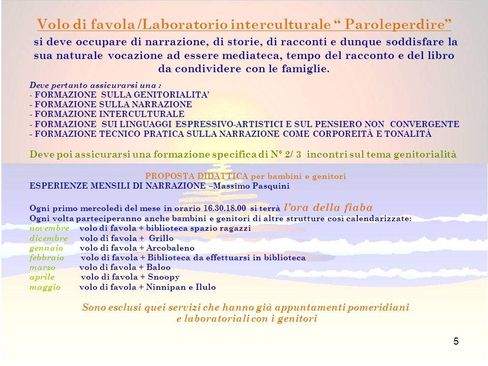 5 Deve pertanto assicurarsi una : - FORMAZIONE SULLA GENITORIALITA - FORMAZIONE SULLA NARRAZIONE - FORMAZIONE INTERCULTURALE - FORMAZIONE SUI LINGUAGGI ESPRESSIVO-ARTISTICI E SUL PENSIERO NON CONVERGENTE - FORMAZIONE TECNICO PRATICA SULLA NARRAZIONE COME CORPOREITÀ E TONALITÀ Deve poi assicurarsi una formazione specifica di N° 2/ 3 incontri sul tema genitorialità PROPOSTA DIDATTICA per bambini e genitori ESPERIENZE MENSILI DI NARRAZIONE –Massimo Pasquini Ogni primo mercoledì del mese in orario 16.30.18.00 si terrà lora della fiaba Ogni volta parteciperanno anche bambini e genitori di altre strutture così calendarizzate: novembre volo di favola + biblioteca spazio ragazzi dicembre volo di favola + Grillo gennaio volo di favola + Arcobaleno febbraio volo di favola + Biblioteca da effettuarsi in biblioteca marzo volo di favola + Baloo aprile volo di favola + Snoopy maggio volo di favola + Ninnipan e Ilulo Sono esclusi quei servizi che hanno già appuntamenti pomeridiani e laboratoriali con i genitori Volo di favola /Laboratorio interculturale Paroleperdire si deve occupare di narrazione, di storie, di racconti e dunque soddisfare la sua naturale vocazione ad essere mediateca, tempo del racconto e del libro da condividere con le famiglie.
