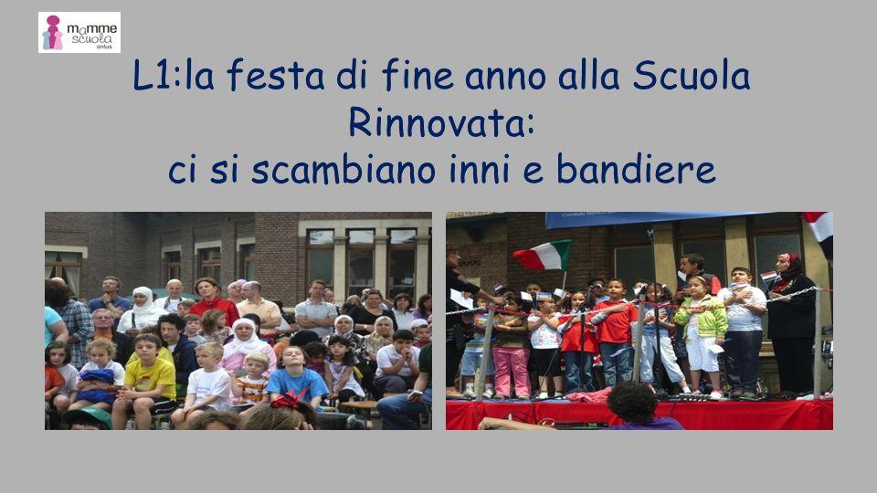 L1:la festa di fine anno alla Scuola Rinnovata: ci si scambiano inni e bandiere