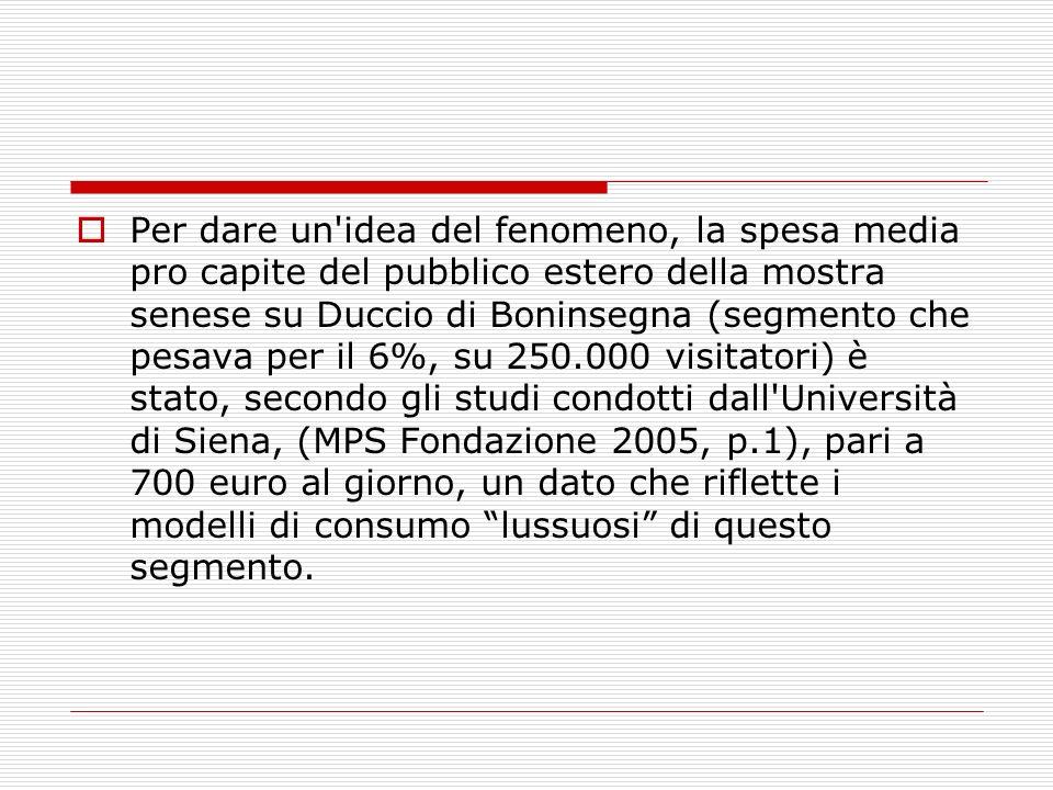 Per dare un'idea del fenomeno, la spesa media pro capite del pubblico estero della mostra senese su Duccio di Boninsegna (segmento che pesava per il 6