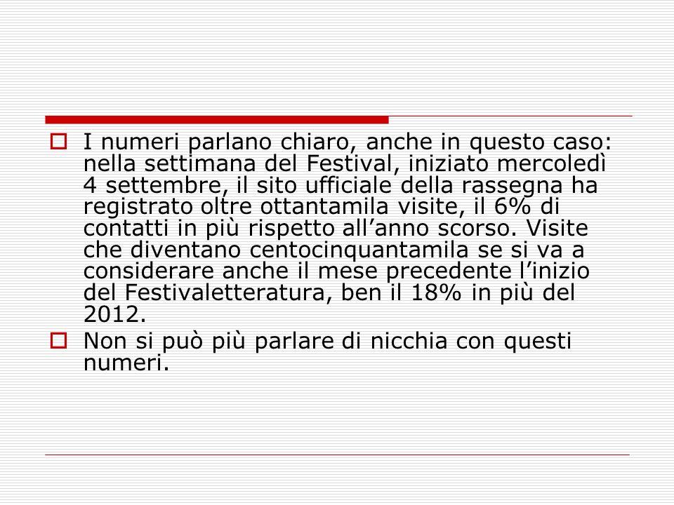 I numeri parlano chiaro, anche in questo caso: nella settimana del Festival, iniziato mercoledì 4 settembre, il sito ufficiale della rassegna ha regis
