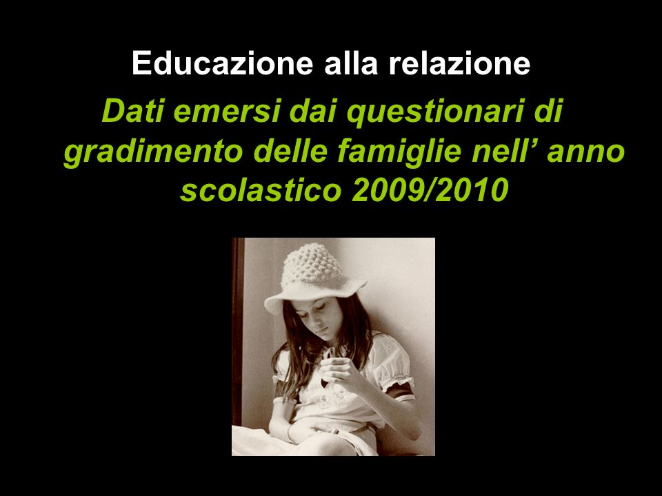 Educazione alla relazione Dati emersi dai questionari di gradimento delle famiglie nell anno scolastico 2009/2010
