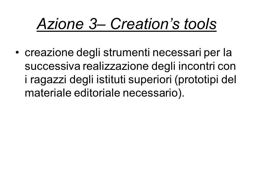 Azione 3– Creations tools creazione degli strumenti necessari per la successiva realizzazione degli incontri con i ragazzi degli istituti superiori (prototipi del materiale editoriale necessario).
