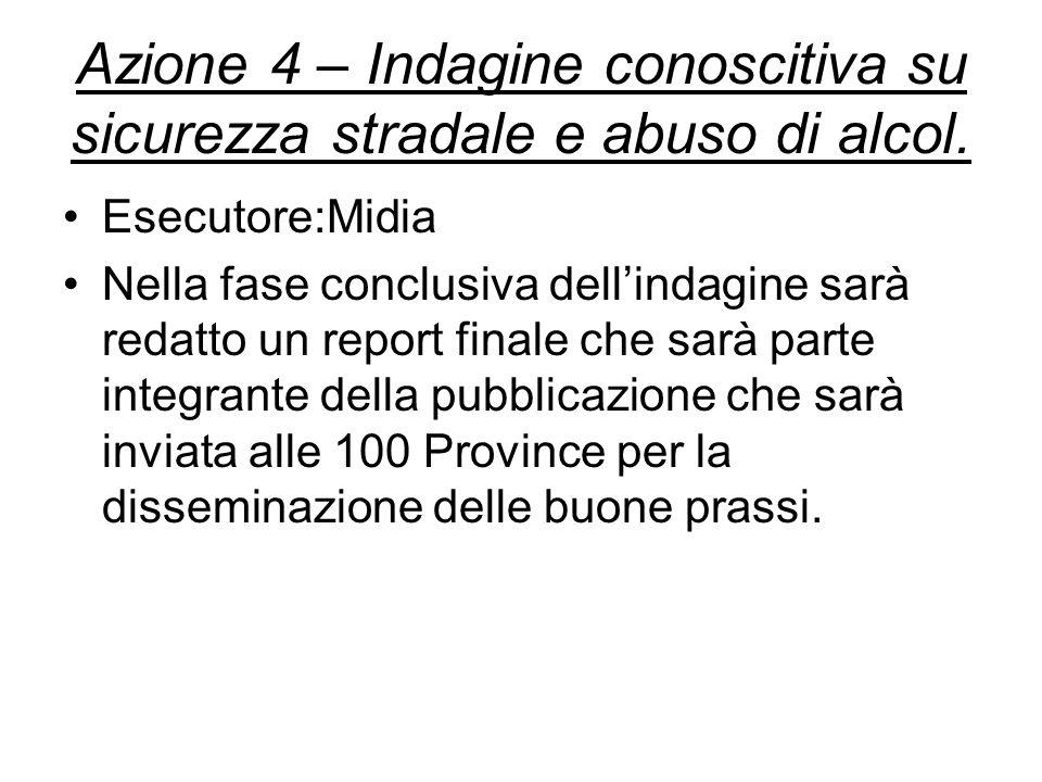Azione 4 – Indagine conoscitiva su sicurezza stradale e abuso di alcol.